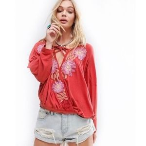 NWT Free People Gotta Love It Embroidered top.